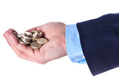 Heap of British pound sterling coins in the hand Royalty Free Stock Image
