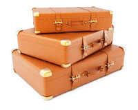Heap of brown leather suitcases Royalty Free Stock Image