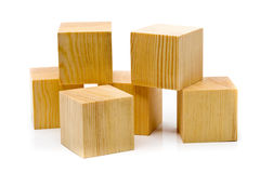 Heap of brown wood blocks stock photos