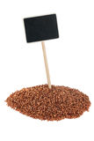 Heap of  buckwheat  with a pointer for your text Royalty Free Stock Photography