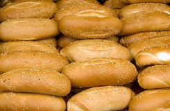 Heap of buns. In a marketing stand Stock Image