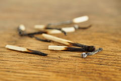 Heap of burnt matches on white background as a symbol of exhaustion, depletion and destruction Royalty Free Stock Images
