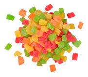 Heap of  candied fruits  on a white Stock Photos