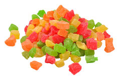 Heap of  candied fruits  on a white Royalty Free Stock Photos