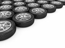 Heap of Car Wheels. Car Wheels on white background with place for your text royalty free illustration