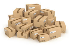 Heap of cardboard boxes Stock Images