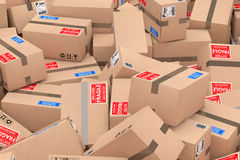 Heap of Cardboard Parcel Packages. 3d Rendering Royalty Free Stock Images