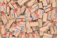 Heap of Cardboard Parcel Packages. 3d Rendering Royalty Free Stock Image