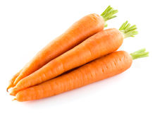 Heap of carrots isolated on white. Background stock photo