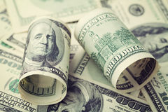 Heap of cash US dollar bills background, closeup money Royalty Free Stock Image