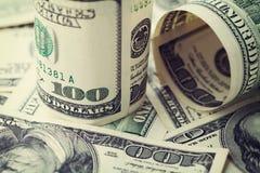 Heap of cash US dollar bills background, closeup money Royalty Free Stock Photos