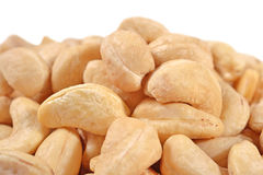 Heap of cashews on a white Royalty Free Stock Photo