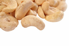 Heap of cashews on a white Royalty Free Stock Image