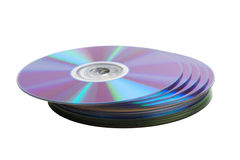 Heap of cd disks isolated over white Stock Photo