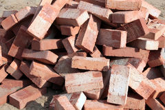 Heap of ceramic bricks Stock Photo