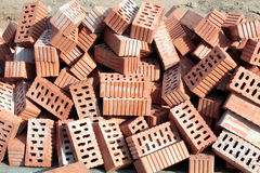 Heap of ceramic hollow bricks Stock Image