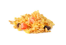 Heap of cereal mix with dried papaya, raisin, apple, peach Stock Image