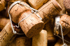 Heap of champagne and wine corks. As a background royalty free stock photography