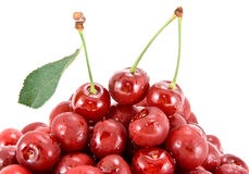 Heap of cherry fruits. Heap of cherry fruits is isolated on the white Stock Photos