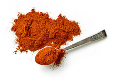 Heap of chili powder. Isolated on white background, top view Royalty Free Stock Photo