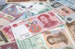 Heap chinese & HK bills Stock Images