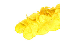 Heap of chips. Isolated on the white background Stock Images