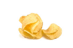 Heap of Chips. Heap of Ribbed Potato Chips isolated on white Stock Image