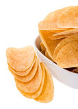 Heap of Chips in a bowl Stock Photo