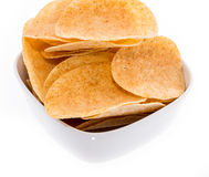 Heap of Chips in a bowl Stock Photos