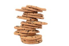 Heap of chocolate chip cookies Royalty Free Stock Image