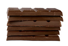 Heap of chocolate fragments. On a white background it is isolated Royalty Free Stock Image