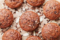 Heap of chocolate muffin on sweet background top view. Stock Photography