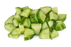 Heap of chopped cucumbers isolated on white Royalty Free Stock Image