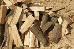 Heap of chopped hornbeam firewood Stock Images