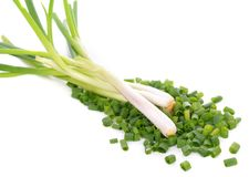 Heap of chopped spring onions isolated on white background royalty free stock images