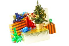 Heap of Christmas,New Year colour gift boxes. Royalty Free Stock Images