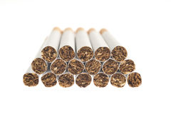 Heap of cigarettes isolated on white Stock Images