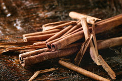 Heap of cinnamon sticks Stock Photos