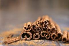 Heap of cinnamon sticks. Stock Image