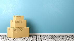 Cardboard Box on Wooden Floor. Heap of Closed Cardboard Box on Wooden Floor Against Blue Wall with Copyspace 3D Illustration Stock Image