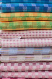 Heap of cloth fabric in shop Stock Photo