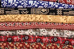 Heap of cloth fabrics in India. Stock Photos