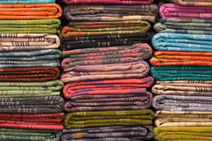 Heap of cloth fabrics in India. Stock Images
