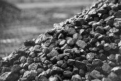 Heap of coal. A place, where coal is stored for selling stock photo