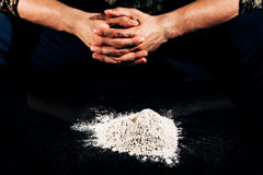 Heap of cocaine. Closer look to one bad habit such as drug addiction on cocaine stock image