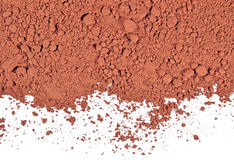 Heap of cocoa powder on a white Stock Photo