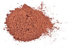 Heap of cocoa powder on a white Stock Images