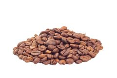 Heap of the coffee beans isolated on white background. Heap of fried coffee beans isolated on white background Stock Photography