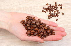 Heap of coffee grains in hand Stock Image
