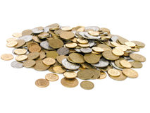 Heap of coins. Over white background Stock Photography